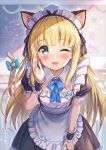 1girl akabane_(zebrasmise) animal_ears apron bent_over blonde_hair blue_eyes blurry blurry_background blush cat_ears cat_tail classroom commentary_request looking_at_viewer maid maid_headdress mononobe_alice nijisanji one_eye_closed ribbon solo tail tail_ribbon virtual_youtuber