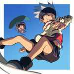 1boy 1girl ainu_clothes black_eyes black_footwear black_headband black_shorts blue_background blue_hair blush_stickers border commentary gradient gradient_background headband highres holding holding_leaf kororo leaf midriff_peek minigirl outside_border sayshownen shaman_king shoes short_hair shorts simple_background size_difference sneakers spiky_hair usui_horokeu white_border