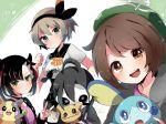1boy 3girls ahoge allister_(pokemon) asymmetrical_bangs bangs bea_(pokemon) black_bodysuit black_hair black_hairband blue_eyes bob_cut bodysuit bodysuit_under_clothes bow_hairband brown_eyes brown_hair cardigan choker clenched_hand collared_shirt commentary_request dress gen_7_pokemon gen_8_pokemon gloria_(pokemon) green_headwear grey_cardigan grey_hair gym_leader hair_between_eyes hair_ribbon hairband hat heart herunia_kokuoji highres holding holding_pokemon jacket long_sleeves looking_at_viewer marnie_(pokemon) mask mimikyu morpeko morpeko_(full) multiple_girls pink_dress pokemon pokemon_(creature) pokemon_(game) pokemon_swsh print_shirt print_shorts red_ribbon ribbon shirt short_hair short_sleeves shorts sobble tam_o'_shanter tied_shirt v violet_eyes