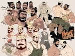 2boys abs arabic_text bara bare_chest beard blonde_hair boots brown_hair bulge character_name chest collage couple expressions eye_contact facial_hair flexing green_tank_top hat heart highres jacket jacket_on_shoulders looking_at_another male_focus manly midriff_peek military_hat multicolored_hair multiple_boys multiple_views muscle navel nipple_slip nipples on_person original pectoral_docking pose rybiokaoru short_hair sitting sitting_on_person tank_top thick_thighs thighs tied_hair two-tone_hair white_tank_top yaoi