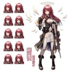 1girl ^_^ absurdres alternate_costume alternate_hairstyle arknights assault_rifle belt belt_pouch black_coat black_footwear black_gloves blush boots breasts character_name closed_eyes coat dress expressions exusiai_(arknights) full_body gloves grin gun halo highres holding holding_gun holding_weapon huge_filesize long_hair looking_at_viewer m4_carbine medium_breasts nose_blush pelvic_curtain pouch red_eyes redhead rifle scaleph shaded_face short_sleeves smile smug solo standing thigh-highs weapon white_dress white_legwear wings