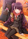 1girl arm_support autumn_leaves bangs bench black_coat black_legwear blush brown_skirt coat eyebrows_visible_through_hair feet_out_of_frame food food_on_face girls_frontline grey_vest highres holding holding_food long_hair long_sleeves looking_at_viewer nose_blush on_bench one_side_up open_clothes open_coat open_mouth pantyhose park_bench plaid plaid_skirt pleated_skirt purple_hair red_eyes red_scarf sansei_rain scarf shirt sitting sitting_on_bench skirt sleeves_past_wrists solo taiyaki very_long_hair vest wa2000_(girls_frontline) wagashi wavy_mouth white_shirt