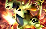 claws commentary_request dark_sky fangs gen_2_pokemon molten_rock no_humans open_mouth outdoors pokemon pokemon_(creature) rowdon standing tail tongue tyranitar