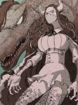 1girl alternate_form arms_at_sides breasts brother_and_sister cape covered_mouth dinosaur dinosaur_girl dinosaur_tail fingernails forehead hair_ribbon high-waist_skirt highres horns huge_breasts long_hair looking_afar looking_at_viewer mask microskirt monster_girl multicolored_hair one_piece page_one_(one_piece) ribbon scales sharp_fingernails shirt shiso_i4 siblings skirt spikes tail taut_clothes ulti_(one_piece)