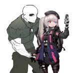 1boy 1girl beret black_headwear black_jacket black_skirt blue_eyes brown_legwear cellphone character_request closed_mouth eyebrows_visible_through_hair flip_phone girls_frontline gloves grey_gloves grey_hair hat heterochromia holding holding_phone jacket long_sleeves multicolored_hair pantyhose phone pink_eyes self_shot skirt smile ssambatea standing streaked_hair twintails white_background