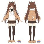 1girl :3 animal_ears animal_slippers bangs black_skirt blush bow brown_eyes brown_footwear brown_hair brown_hoodie brown_legwear closed_mouth clothes_writing commentary_request copyright_request dog_ears dog_slippers drawstring eyebrows_visible_through_hair hair_bow highres hood hood_down hoodie long_hair long_sleeves looking_at_viewer multiple_views pleated_skirt puffy_long_sleeves puffy_sleeves sidelocks simple_background skirt sleeves_past_wrists slippers standing terupancake thigh-highs turnaround twintails twitter_username very_long_hair virtual_youtuber watermark white_background white_bow x_anus