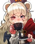 1girl absurdres animal_ears aqua_nails arknights bear_ears blue_eyes blue_headwear commentary_request cup dress drinking eyebrows_visible_through_hair heterochromia highres holding holding_cup holding_plate lips long_hair long_sleeves looking_at_viewer panichyun plate red_eyes rosa_(arknights) silver_hair solo steam teacup upper_body ursus_empire_logo