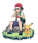 1boy 1paku54 ash_ketchum backpack bag bangs baseball_cap berry_(pokemon) black_hair closed_eyes commentary_request eating gen_1_pokemon grass hair_between_eyes hat highres holding pikachu pokemon pokemon_(anime) pokemon_(creature) pokemon_swsh_(anime) ramen rock shirt shoes shorts sitting sleeveless sleeveless_jacket white_background white_shirt