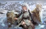 1girl absurdres animal animal_ear_fluff animal_ears arknights bangs braid commentary_request day dress eyebrows_visible_through_hair full_body grey_eyes hair_between_eyes highres hill jewelry leopard leopard_ears long_hair looking_at_viewer mo_ne mountain necklace outdoors pramanix_(arknights) silver_hair sitting turtleneck