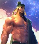 1boy abs bara bare_chest beard brown_hair bulge cherry_blossoms chest chest_hair chinese_clothes facial_hair guan_yu hat highres long_hair looking_at_viewer male_focus manly muscle navel navel_hair nipples petals rybiokaoru shin_sangoku_musou shiny shiny_skin sky solo star_(sky) starry_sky thick_eyebrows thick_thighs thighs upper_body