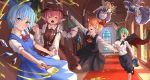 >_< 6+girls :d antennae apron ascot bird_wings black_dress black_ribbon blonde_hair blouse blue_bow blue_dress blue_eyes blue_hair blush bow broom brown_dress brown_headwear cape cirno closed_eyes commentary_request dress fairy fairy_maid fairy_wings green_eyes green_hair grin hair_bow hair_ribbon hat ice ice_wings indoors jewelry long_sleeves looking_at_viewer maid maid_headdress multiple_girls mystia_lorelei neck_ribbon open_mouth outstretched_arms paint paint_can paint_on_clothes paint_on_face paintbrush pink_hair red_ribbon ribbon roke_(taikodon) rug rumia short_hair short_sleeves single_earring smile sweatdrop team_9 touhou vase vest white_blouse window winged_hat wings wriggle_nightbug wrist_grab
