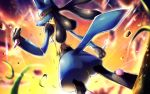 arm_at_side blurry blurry_background closed_mouth commentary_request from_below fur gen_4_pokemon glowing hand_up legs_apart looking_at_viewer looking_back lucario pink_eyes pokemon pokemon_(creature) rock rowdon standing