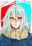 1other androgynous bangs blue_hair closed_mouth dual_persona eyebrows_visible_through_hair fur fur_collar fur_scarf hair_between_eyes long_hair looking_at_viewer red_eyes rimuru_tempest sakusan_yousoeki scarf simple_background smile tensei_shitara_slime_datta_ken yellow_eyes