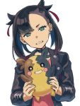 1girl asymmetrical_bangs bangs black_choker black_jacket choker clenched_teeth commentary dated_commentary dress earrings gen_8_pokemon green_eyes grin hair_ribbon holding holding_pokemon jacket jewelry looking_at_viewer marnie_(pokemon) medium_hair morpeko morpeko_(full) open_clothes open_jacket pink_dress pokemon pokemon_(creature) pokemon_(game) pokemon_swsh red_ribbon ribbon sayshownen simple_background sketch smile teeth twintails undercut upper_body white_background