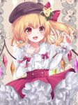 1girl :d absurdres adapted_costume bangs beige_background beret blonde_hair blush bow brown_headwear collarbone commentary_request crystal eyebrows_visible_through_hair eyelashes fangs flandre_scarlet floral_background flower frilled_skirt frills hair_bow hat highres lips long_sleeves nail_polish one_side_up open_mouth orange_eyes red_bow red_nails red_skirt shirt skirt smile striped tongue touhou vertical_stripes white_shirt wings yuria_(kittyluv)