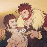 2boys abs bara bare_chest beard blue_eyes breastplate brown_hair cape chest chest_scar cleavage_cutout clothing_cutout collar couple epaulettes error facial_hair fate/grand_order fate/zero fate_(series) feeding food fur-trimmed_cape fur_trim goatee highres ice_cream ina_zuma iskandar_(fate) jacket leather male_focus manly melting military military_uniform multiple_boys muscle napoleon_bonaparte_(fate/grand_order) one_eye_closed open_clothes open_jacket open_mouth red_eyes redhead scar short_hair sideburns simple_background smirk uniform upper_body