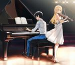 1boy 1girl arima_kousei bangs bare_shoulders black-framed_eyewear black_footwear blonde_hair blue_pants chair collared_shirt commentary_request dress eyebrows_visible_through_hair glasses highres holding holding_instrument indoors instrument lights looking_to_the_side miyazono_kawori music pants piano piano_bench playing_instrument popuru shigatsu_wa_kimi_no_uso shirt sitting sleeves_rolled_up smile stage standing violin white_dress white_footwear white_shirt
