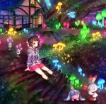 1girl boots brown_eyes brown_footwear brown_hair building buttons cardigan collared_dress commentary_request dress eyelashes gen_7_pokemon gen_8_pokemon gloria_(pokemon) glowing grass green_headwear green_legwear grey_cardigan hat hatenna hooded_cardigan lens_flare morelull mushroom outdoors pink_dress plaid plaid_legwear pokemon pokemon_(creature) pokemon_(game) pokemon_swsh scorbunny sitting socks stairs tam_o'_shanter yomogi_(black-elf)