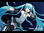 1girl aqua_eyes aqua_hair aqua_nails aqua_neckwear bare_shoulders black_legwear black_skirt black_sleeves blush boots cable commentary cowboy_shot dated detached_sleeves dutch_angle grey_shirt hair_ornament happy_birthday hatsune_miku headphones headset holding holding_microphone leg_up long_hair looking_at_viewer microphone miniskirt nail_polish necktie night one_eye_closed open_mouth outstretched_arm piano_keys pleated_skirt shirt skirt sky sleeveless sleeveless_shirt smile solo star_(sky) starry_sky sudachi_(calendar) thigh-highs thigh_boots twintails very_long_hair vocaloid zettai_ryouiki