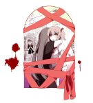 2girls akemi_homura apple arm_at_side arms_around_neck beige_background black_capelet black_dress black_hair blonde_hair blood blood_splatter blood_trail blue_eyes blush_stickers brown_hair building capelet city clara_dolls_(madoka_magica) closed_mouth colorful crying crying_with_eyes_open dress eyebrows_visible_through_hair facing_away facing_viewer familiar_(madoka_magica) food from_behind from_outside fruit funeral_dress gradient gradient_background hair_ribbon hanyae heterochromia holding holding_food holding_fruit homulilly hug indoors juliet_sleeves kaname_madoka long_hair long_sleeves looking_afar mahou_shoujo_madoka_magica mahou_shoujo_madoka_magica_movie mitakihara_school_uniform multiple_girls pale_skin pink_background pink_eyes pink_hair pink_ribbon puffy_sleeves purple_background red_ribbon ribbon sad school_uniform shaded_face simple_background spiral_eyes straight_hair tears thigh-highs twintails uniform white_background white_legwear white_skin wide-eyed window wrapped_up yellow_eyes