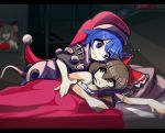 2girls bangs bed bedroom black_capelet blanket blue_hair bow box breasts brown_eyes brown_hair capelet closed_mouth commentary detached_sleeves donation_box doremy_sweet dress english_commentary eyebrows_visible_through_hair eyes_visible_through_hair frilled_bow frills hair_bow hakama hakurei_reimu hat japanese_clothes kaliningradg leaning_forward looking_at_another looking_to_the_side lying medium_breasts medium_hair multicolored multicolored_clothes multicolored_dress multiple_girls nightcap nightgown nontraditional_miko on_side parody picture_frame pillow pom_pom_(clothes) power-up red_bow red_hakama red_headwear room sendai_hakurei_no_miko short_hair sleepwear tail tapir_tail the_simpsons touhou v-shaped_eyebrows violet_eyes yin_yang