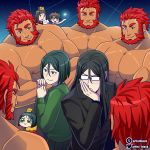 6+boys ^_^ abs artist_black artist_name bara bare_chest beard chest chibi clone closed_eyes facial_hair fate/grand_order fate/zero fate_(series) fujimaru_ritsuka_(male) gameplay_mechanics green_eyes green_hair hand_to_own_mouth iskandar_(fate) male_focus manly multiple_boys muscle nipples red_eyes redhead saint_quartz shiny shiny_skin shirtless short_hair upper_body waver_velvet yaoi