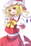 1girl :d absurdres blonde_hair blush bow cowboy_shot crystal eyebrows_visible_through_hair fang flandre_scarlet frills happy hat heart highres looking_at_viewer medium_hair mob_cap nanairo_madani open_mouth puffy_short_sleeves puffy_sleeves red_bow red_eyes red_skirt shirt short_sleeves skin_fang skirt skirt_set smile touhou white_background white_shirt wings yellow_bow