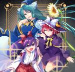 3girls bangs blue_shirt blue_skirt bow bowtie buttons capelet crescent crescent_moon crescent_moon_pin dress flower frilled_dress frills ghost_tail green_eyes green_hair hair_bow hair_tubes hakama hakurei_reimu hakurei_reimu_(pc-98) hat hat_bow hat_ribbon highres japanese_clothes katayama_kei kimono kirisame_marisa kirisame_marisa_(pc-98) long_hair long_sleeves low-tied_long_hair miko mima moon multiple_girls o3o ofuda one_eye_closed open_mouth pc-98 purple_capelet purple_dress purple_hair purple_headwear red_bow red_eyes red_hakama redhead ribbon ribbon-trimmed_clothes ribbon_trim shirt short_hair skirt skirt_set sparkle star_(sky) sun_print sunflower touhou touhou_(pc-98) violet_eyes white_bow white_ribbon wide_sleeves witch_hat wizard_hat yellow_bow yellow_neckwear