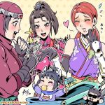 5girls animal_ears baby bandai_namco black_hair blush bodysuit breasts brown_eyes burn_scar chibi chibi_inset commentary company_connection crossover english_commentary facial_scar flag fox_ears harada_katsuhiro high_ponytail hood impossible_bodysuit impossible_clothes japanese_clothes kimono kunimitsu_(tekken) kunimitsu_ii large_breasts lipstick low_twintails makeup mature mole mole_under_mouth mother_and_daughter multiple_crossover multiple_girls natsu_(soulcalibur) ninja orange_hair pacifier photo_(object) profanity purple_kimono real_life richard_suwono scar sleeveless sleeveless_kimono soulcalibur soulcalibur_iv soulcalibur_v taki_(soulcalibur) tekken tekken_7 topknot trait_connection tsukikage tsukikage_(virtua_fighter) twintails virtua_fighter whisker_markings yoshimitsu