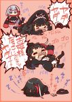 >_< 2girls absurdres admiral_graf_spee_(azur_lane) armband azur_lane bangs beige_background black_dress black_hair black_jacket black_legwear blue_eyes blunt_bangs blush cameo chibi closed_eyes commentary_request crying daigorou_(42036928) detached_sleeves deutschland_(azur_lane) dom dress eyebrows_visible_through_hair eyewear_on_headwear flailing full_body goggles goggles_on_headwear gundam hat headwear_removed highres jacket jitome long_hair long_sleeves looking_at_another lying meme motion_lines multicolored_hair multiple_girls nose_blush on_back on_stomach open_mouth panties redhead sharp_teeth short_hair sidelocks simple_background sleeping snot speech_bubble streaked_hair tantrum tears teeth thigh-highs translation_request underwear very_long_hair wavy_mouth white_hair white_panties yada_yada zzz