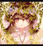 1girl animal_ears bangs brown_hair bunny_girl carrot_necklace collar dress english_text engrish_text eyebrows_visible_through_hair fingernails flower foliage frilled_collar frills hair_between_eyes hair_flower hair_ornament head_wreath inaba_tewi letterboxed looking_at_viewer medium_hair pink_dress rabbit_ears ranguage red_eyes shinjitsu_no_kuchi solo touhou upper_body white_background white_flower