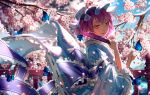 1girl absurdres arm_garter arm_ribbon arm_strap bangs blue_bow blue_butterfly blue_headwear blue_kimono blue_ribbon blue_sash blue_sky blurry blurry_background blush bow bridge bug butterfly butterfly_on_finger butterfly_on_hand cherry_blossoms clouds commentary day eyelashes falling_petals fan flower folding_fan frilled_kimono frilled_sash frilled_sleeves frills glowing glowing_butterfly half-closed_eyes hands_up hat highres holding holding_fan insect japanese_clothes kimono light_particles lips long_sleeves mob_cap mountainous_horizon obi outdoors petals pink_eyes pink_flower pink_hair puffy_sleeves railing ribbon ribbon-trimmed_sleeves ribbon_trim saigyouji_yuyuko sash short_hair sidelocks signature sky smile solo touhou tree tree_branch triangular_headpiece twitter_username water wavy_hair wide_sleeves ze_xia