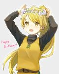 1girl absurdres arms_up bangs belt blonde_hair blush brown_belt commentary_request eyebrows_visible_through_hair eyelashes floating_hair grey_background happy_birthday highres long_hair long_sleeves open_mouth peppedayo_ne pokemon pokemon_adventures ponytail solo yellow_(pokemon) yellow_eyes