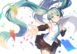 1girl absurdres aqua_neckwear black_skirt blue_eyes blue_hair breasts confetti floating_hair hand_on_own_chest happy_birthday hatsune_miku highres long_hair looking_at_viewer necktie open_hand skirt small_breasts smile solo twintails very_long_hair vocaloid yuzuha_wasa