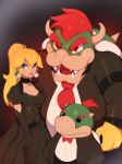 1girl 2boys absurdres black_choker black_dress black_gloves blonde_hair blue_eyes bow bowser bowser_jr. bowtie breasts choker combos_&_doodles commentary dress earrings elbow_gloves fangs father_and_son formal gloves highres horns jewelry long_hair looking_at_viewer mario_(series) multiple_boys necktie ponytail princess_peach puffy_short_sleeves puffy_sleeves red_eyes red_neckwear redhead shirt short_hair short_sleeves simple_background spiked_shell suit turtle_shell white_shirt