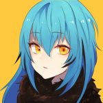 1other androgynous bangs blue_hair eyebrows_visible_through_hair fur fur_collar fur_scarf hair_between_eyes long_hair looking_at_viewer open_mouth rimuru_tempest sakusan_yousoeki scarf simple_background solo tensei_shitara_slime_datta_ken yellow_background yellow_eyes