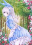 alice_in_wonderland apron arms_behind_back blue_dress blue_eyes blush bow colored_pencil_(medium) darkkanan dress eyes_visible_through_hair forest graphite_(medium) hair_bow hairband highres long_hair looking_at_viewer nature original outdoors pantyhose pinafore_dress scenery standing traditional_media tying_apron watercolor_(medium) white_hair white_legwear