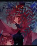 1girl bangs black_shirt blue_bow bow breasts cloak commentary_request disembodied_head drawstring english_text gradient gradient_background hair_bow hand_on_another's_head leaf letterboxed long_sleeves looking_at_viewer looking_to_the_side medium_breasts plant profile red_cloak red_eyes redhead sekibanki shinjitsu_no_kuchi shirt short_hair solo string touhou upper_body