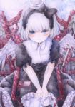 1girl angel angel_wings bib black_dress blue_eyes blush bob_cut chair colored_pencil_(medium) darkkanan dress eyes_visible_through_hair gothic_lolita graphite_(medium) hairband halo highres intravenous_drip leg_brace lolita_fashion lolita_hairband looking_at_viewer original pantyhose scenery short_hair sitting solo traditional_media watercolor_(medium) wheelchair white_hair white_legwear wings