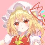 1girl :o blonde_hair blush close-up commentary_request cravat crystal face fangs flandre_scarlet flat_chest frilled_sleeves frills hair_between_eyes hat medium_hair mob_cap one_side_up open_mouth outline pink_background puffy_short_sleeves puffy_sleeves red_eyes red_ribbon red_vest ribbon short_sleeves simple_background slit_pupils tangent_(reflans) touhou unbuttoned upper_body vest wings yellow_neckwear