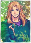 1boy alternate_costume arabagi bangs brown_hair chiron_(fate) contemporary eyebrows_visible_through_hair fate/grand_order fate_(series) fingerless_gloves gloves green_eyes green_hoodie leaf long_hair looking_at_viewer male_focus parted_bangs purple_shirt shirt smile solo tree tree_shade
