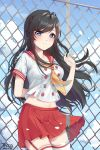 1girl arm_behind_back bangs black_hair blue_eyes blush braid breasts chain-link_fence check_copyright closed_mouth clouds commentary_request commission copyright_request cowboy_shot day double-breasted eyebrows_visible_through_hair fence hand_up highres long_hair looking_at_viewer midriff miniskirt neckerchief original outdoors pleated_skirt red_skirt sailor_collar school_uniform serafuku shirt short_sleeves skirt sky solo tacco_(tikeworld) thigh-highs thighs white_legwear white_shirt zettai_ryouiki