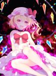 1girl :d alternate_costume bare_legs bare_shoulders barefoot blonde_hair bow choker chromatic_aberration commentary_request crystal dress eyebrows_visible_through_hair flandre_scarlet foot_out_of_frame frills glint happy hat heart highres lens_flare looking_at_viewer mob_cap mosaic_background open_mouth panties pink_skirt red_bow red_eyes shinketsu_kanyu short_hair sitting skirt smile sparkle strapless strapless_dress touhou underwear white_dress white_panties wings