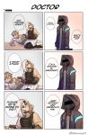 1boy 2others 6koma abineko arknights briefcase doctor_(arknights) english_text heart_attack highres hood hooded_jacket injury jacket mask mephisto_(arknights) multiple_others reunion_soldier_(arknights) speech_bubble twitter_username white_hair