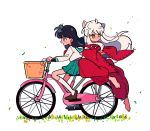 1boy 1girl ahoge animal_ears barefoot bicycle bicycle_basket black_hair blush brown_footwear chueog crossed_arms dot_nose fox_ears full_body grass green_sailor_collar green_skirt ground_vehicle highres higurashi_kagome inuyasha inuyasha_(character) japanese_clothes jewelry kimono kneehighs loafers long_hair looking_ahead looking_to_the_side neckerchief necklace open_mouth pleated_skirt red_kimono red_neckwear riding_bicycle sailor_collar shiny shiny_hair shoes sidelocks simple_background skirt smile tooth_necklace white_background white_hair white_legwear yellow_eyes