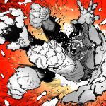 1boy afterimage angry asura's_wrath asura_(asura's_wrath) blank_eyes highres monochrome open_mouth punching red_theme solo ssambatea wide-eyed