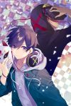 2boys black_hair blue_eyes closed_mouth cover cover_page drawstring headphones headphones_around_neck highres holding holding_mask hood hood_down hood_up hoodie jacket male_focus mask multiple_boys novel_cover official_art saine serious short_hair white_hair zettai_zetsumei_gemu zipper