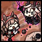 3girls amiya_(arknights) angelina_(arknights) animal_ears arknights bangs black_jacket blush brown_hair chibi choker closed_eyes commentary_request earthspirit_(arknights) goat_horns hair_between_eyes hairband happy holding holding_staff horns jacket kagami_kino long_hair long_sleeves multiple_girls open_clothes open_jacket open_mouth rabbit_ears rock shirt silver_hair smile staff twintails