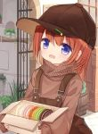 1girl :d bangs baseball_cap blue_eyes blush box brown_hair brown_headwear brown_sweater commentary_request eyebrows_visible_through_hair hair_between_eyes hat holding holding_box long_hair long_sleeves looking_at_viewer open_mouth original overalls pastry_box puffy_long_sleeves puffy_sleeves red_girl_(yuuhagi_(amaretto-no-natsu)) sidelocks sleeves_past_wrists smile solo sweater turtleneck turtleneck_sweater yuuhagi_(amaretto-no-natsu)
