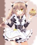 1girl ;d animal_ear_fluff animal_ears apron black_dress blush braid breasts brown_background brown_eyes brown_hair cat_ears commentary_request dress fang food heart holding holding_plate holding_spoon long_hair long_sleeves looking_at_viewer maid maid_headdress medium_breasts mont_blanc_(food) one_eye_closed open_mouth original plate puffy_short_sleeves puffy_sleeves shikito short_over_long_sleeves short_sleeves smile solo spoon twin_braids twintails very_long_hair waist_apron white_apron yellow_eyes
